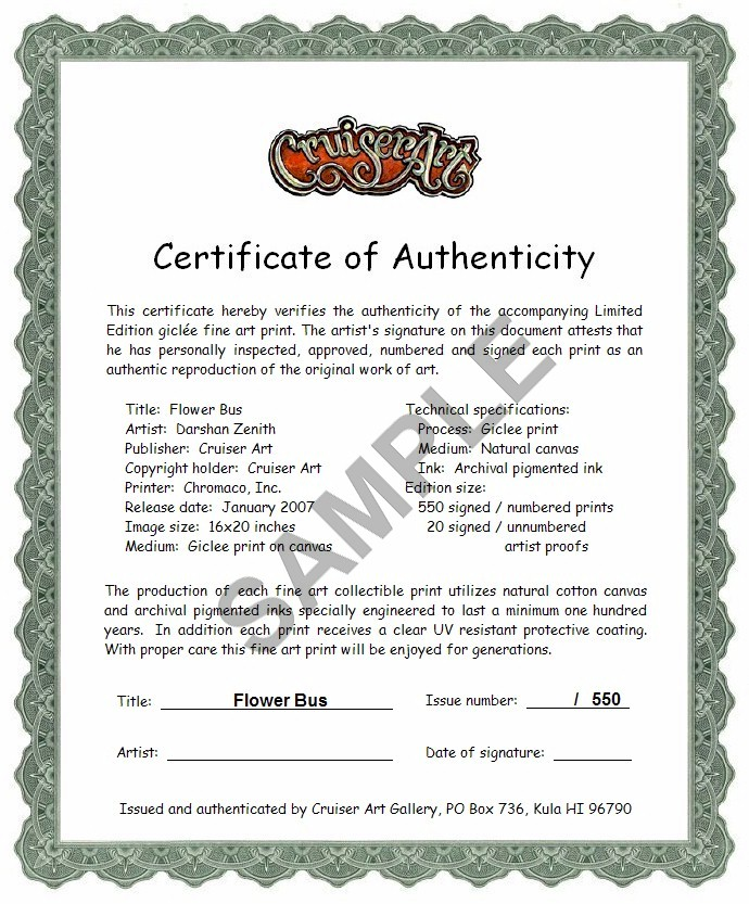 Certificate of Authenticity - Woody Waiting